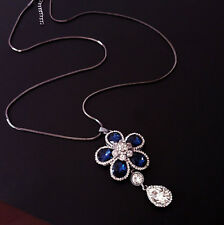 Blue flower water drop  pendant long necklace UK seller