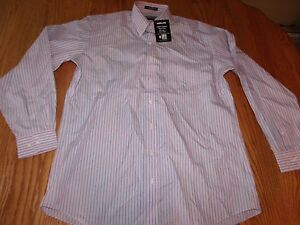 Nwt Mens Kirkland Signature Dress Shirt No Iron Salmon Blue Striped Long Sleeve
