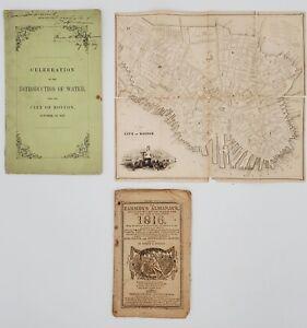 "19th C. Boston Ephemera: 1st of Lowell Poem ""Ode"", Early Map & Farmer's Almanack"