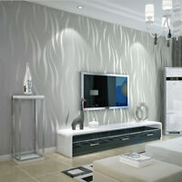 10m 3D Vlies Tapete Ornament Wellen Streifen Barock Design silber hellgrau Weiss