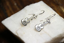 Guitar Earrings Acoustic Musician Music 925 sterling silver hooks pewter charms