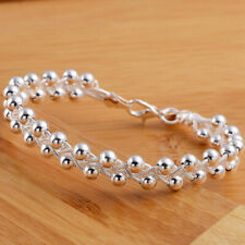 Women Cute 925 Sterling Silver Fashion Beads Party Chain Bracelet Jewelry Casual