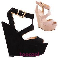 Scarpe donna stivali stivaletti zeppa scamosciati sandali tacchi nuovi K1Z1368-3