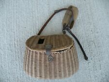 OLD ANTIQUE FISHING CREEL FLY FISHERMAN'S WICKER / LEATHER BASKET VINTAGE