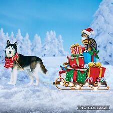 Solar Powered Light Alaskan Husky Dog Sled Christmas Gifts Cat Santa Hat Stakes