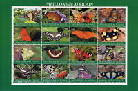 Chad 2018 CTO Butterflies of Africa 16v M/S Butterfly Insects Stamps