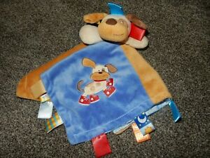Mary Meyer TAGGIES Signature Cozy Puppy Dog Plush Satin Security Lovey Blanket