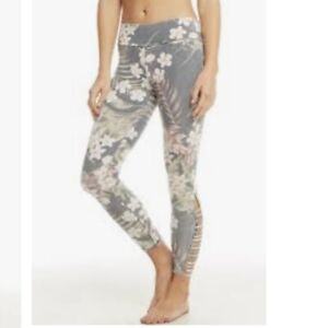Chaser Tropical Print Side Vent Leggings Women's  size Small