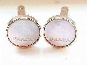 PRADA Mother Of Pearl Embossed Unisex CuffLinks
