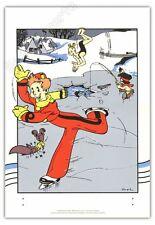 Affiche Serigraphie BD SPIROU ET FANTASIO Franquin Patin sur glace 35x50 cm