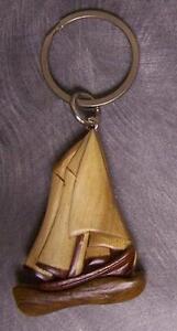 Intarsia Solid Wood Key Ring Sports Sailboat NEW