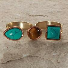 New Tara Mesa Turquoise & Tiger's Eye Drusy Quartz Double Finger Ring Size~Adjus