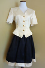 VTG Women's Escada Couture Cream Satin Jacket w/Black Pleated Skirt sz 38 (6-8)