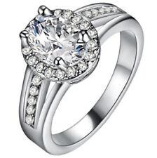 HOT Fashion Women White Gemstone CZ Crystal Silver Wedding Ring Jewelry Size 7