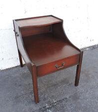 Leather Top Mahogany Lamp Side End Table by John Stuart Inc 8248