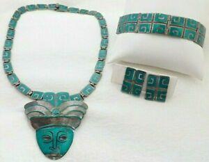 Margot de Taxco 5403 Enamel Sterling Mask Necklace Brooch Bracelet Earrings Set