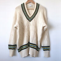 MENS Cream Ivory WOOL Cable Knit V-Neck Cricket Jumper Sweater XL-2XL Chest 48