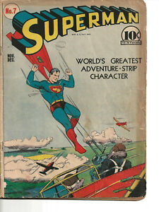 Superman #7 (1940) -- 1st Appearance of Perry White -- GOLDEN AGE KEY