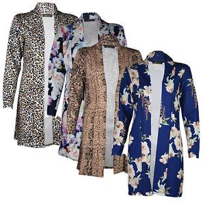 Ladies long Sleeve front Open Boyfriend cardigan Womens  Floral coat Blazer 8-16