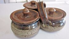 Hand Thrown Natural Stoneware Pottery Condiment Holder W/Lids