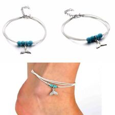 1Pc Boho Style Pendant Turquoise Mermaid Tail Multi-layer Beaded Ankle Chain