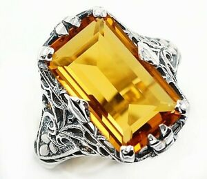 10CT Citrine 925 Solid Sterling Silver Vintage Style Ring Jewelry Sz 6, UF10