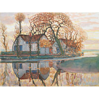 Mondrian Farm Near Duivendrecht Trees Landscape Painting Canvas Art Print Poster