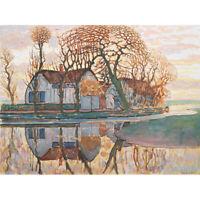 Mondrian Farm Near Duivendrecht Trees Landscape Painting Canvas Art Print Poster