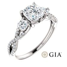 1.55 Carat Cushion Ring in 14K White Gold - GIA CERTIFIED