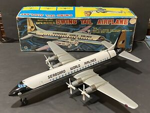 BATTERY OPERATED SEABOARD WORLD AIRLINES SWING TAIL CARGO PLANE MARX JAPAN WORKS