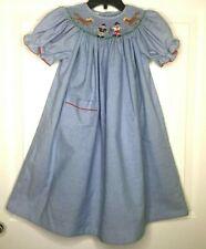 "AMANDA REMEMBERED Smocked Bishop Dress Sz 3 Blue Cowgirl Horses Girls 25.5"" Long"