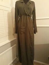 Military Green Wrap Pocket Dress