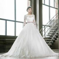 White Ivory Wedding Dresses Long sleeves Lace Applique Bridal Gowns Plus Size