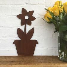 Rusty Metal PLANT FLOWER POT sign garden DECORATION FEATURE ORNAMENT WALL LAWN