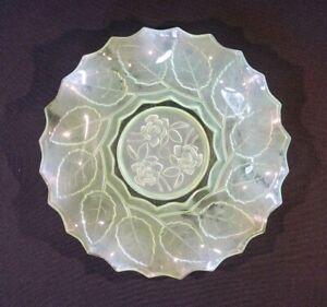 Beautiful Uranium Glass Art Deco Rose Plate
