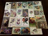 Nice~LOT of 25 ~Pansies~PANSY~Flowers Floral~Greetings Postcards-In Sleeves-b17