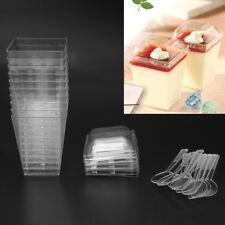 10Pcs Disposable Hard Plastic Mousses Dessert Cup With Spoons Lids Wedding Party