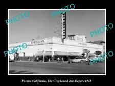 Old Large Historic Photo Of Fresno California, The Greyhound Bus Depot c1948
