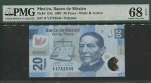 2007 MEXICO 20 Pesos PMG68 EPQ SUPERB GEM UNC <P-122c> 'Polymer'