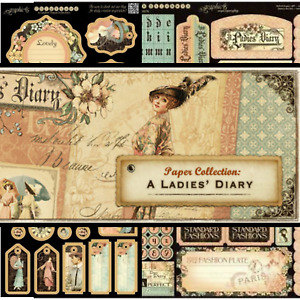 """GRAPHIC 45 12x12 DCE """"A Ladies Diary"""" - Chipboard, Stickers, Card Stock RETIRED"""