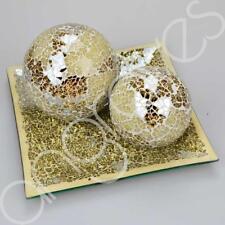 Beautiful Cream & Gold Mosaic Effect Ball & Plate Set Sparkle 20cm Home Dish