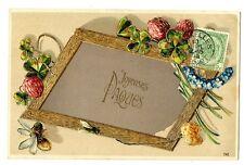 CPA Fantaisie Joyeuses Pâques cadre et fleurs carte relief fantasy postcard