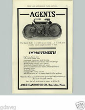 1905 PAPER AD Marsh Model D Motorcycle Motor Cycle American Brockton Mass