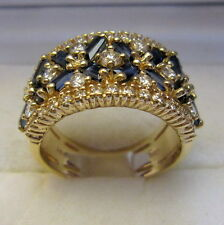 14 KT YELLOW GOLD DIAMOND & SAPPHIRE RING - TWD 3.30 CTS