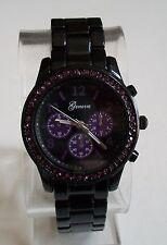 Designer Inspired black finish Purple Bling Boyfriend Geneva Fashion Watch