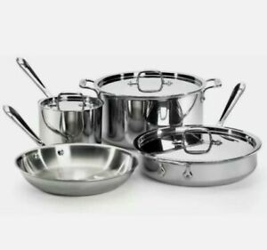 Brand New All Clad D3 18/10 Stainless Steel 7 Pc Piece Tri-Ply Cookware Set