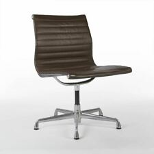 Brown Herman Miller Original Eames Ribbed EA330 'Meeting' Alu Side Chair
