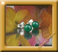 Sterlingsilber, Ohrstecker, Silber 925, Ohrringe 6mm  grüne Onyx