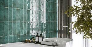 SAMPLE £16.89M2 Subway Brick Flat Green Ceramic - 10x30cm Wall Tile High Gloss