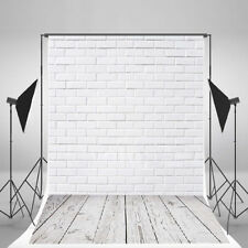 3x5FT White Brick Wall Wood Floor Photography Backdrop Studio Photo Background